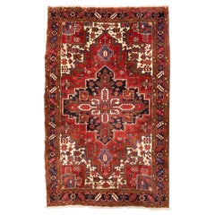 Antique Persian Red Ivory and Navy Blue Geometric Tribal Heriz Rug