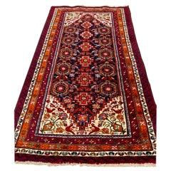 Antique Persian Red Navy Blue Tribal Persian Bakhtiari Small Rug