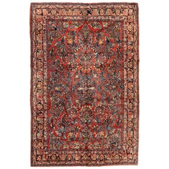 Antique Red Gold Floral Persian Sarouk Room Size Vintage Area Rug circa 1920s