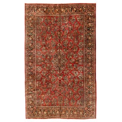 Large Antique Vintage Persian Red and Gold Floral Sarouk Rug circa 1920s