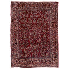 Antique Persian Red Sarouk Rug, Allover Field, Circa 1940s