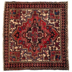 Antique Small Persian Red Ivory Navy Blue Geometric Square Heriz Rug circa 1950s
