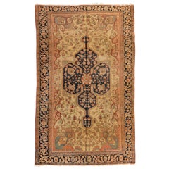 Antique Persian Rose Beige and Navy Blue Farahan Sarouk Rug, circa 1880-1900