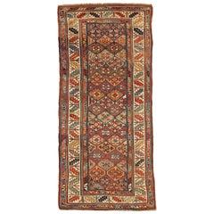 Antique Persian Rug Azerbaijan Design with Vibrant Mosaic Patterns, circa 1920s