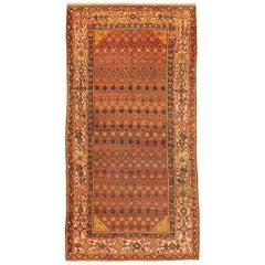 Antique Persian Rug Bakhtiar Design with Starry Black & Orange Motif circa 1930s