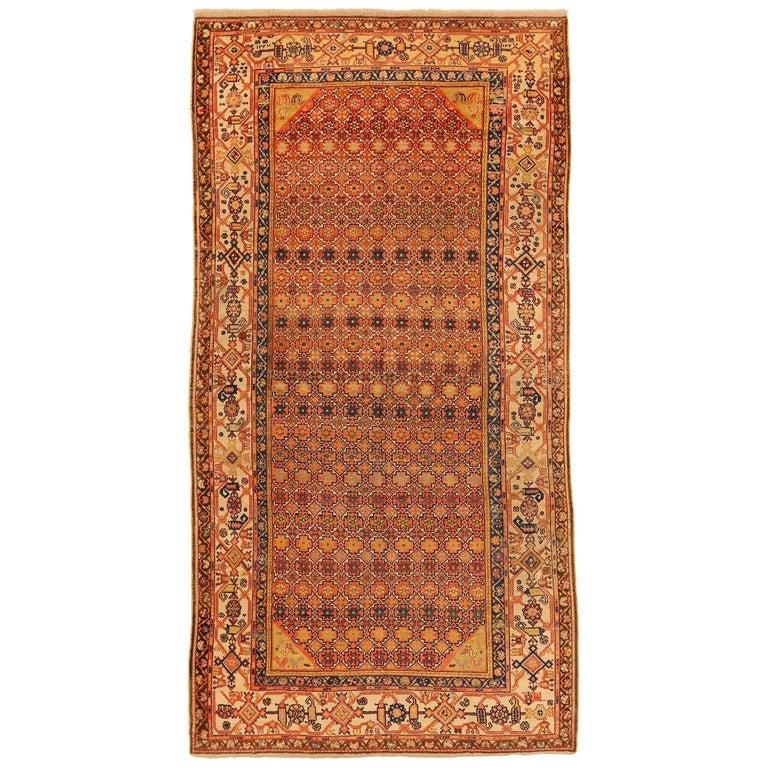 Antique Persian Rug Bakhtiar Design With Starry Black Orange Motif Circa 1930s