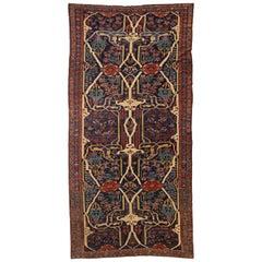 Antique Persian Rug Bijar Design with Multicolored Floral Patterns, circa 1920s