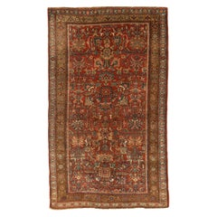 Antique Persian Rug Bijar Weave with Green and Pink Floral Details All-Over