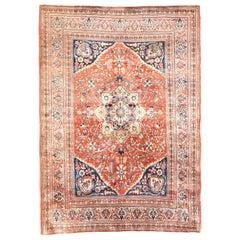 Antique Persian Rug Heriz, Silk on Silk, Hand Knotted, circa 1880