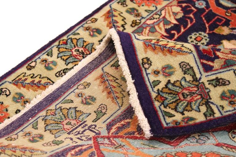 Special Twin Antique Persian Rug In Ornate Tabriz Design