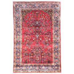 Antique Persian Rug Kashan, Silk on Silk, Hand Knotted, circa 1890