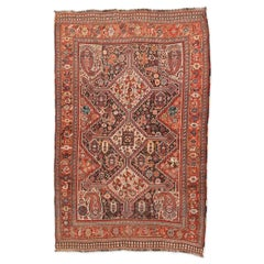 Antique Persian Rug of 1890, Kasghai Kaskuli with Geometric Design