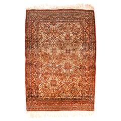 Antique Persian Rug Tabriz Haji Jalili Silk on Silk Hand Knotted, circa 1890