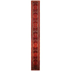Antique Persian Rug with Tribal Design and Extraordinary Length, circa 1900s