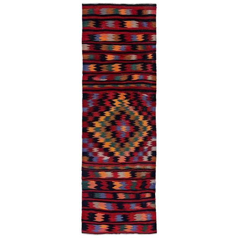 Antique Persian Runner Rug Kilim Design For Sale