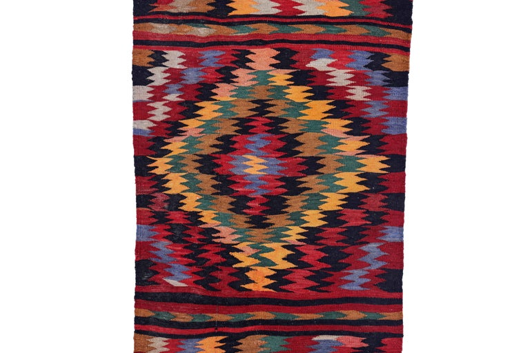 Hand-Woven Antique Persian Runner Rug Kilim Design For Sale