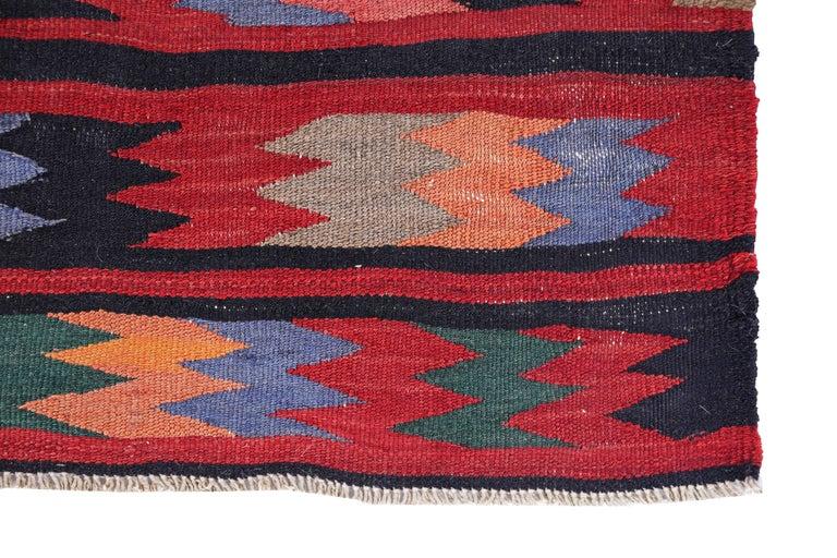 Antique Persian Runner Rug Kilim Design In Excellent Condition For Sale In Dallas, TX