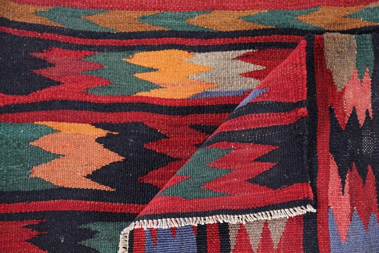 Wool Antique Persian Runner Rug Kilim Design For Sale