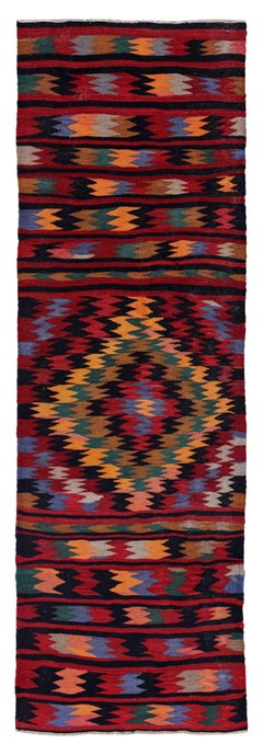 Antique Persian Runner Rug Kilim Design, Size: 3'1'' x 9'