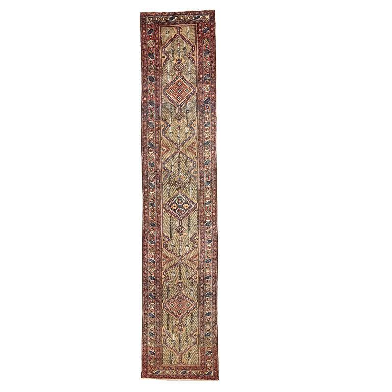 Antique Persian Runner Rug Serab Design Made Of Fine Camel