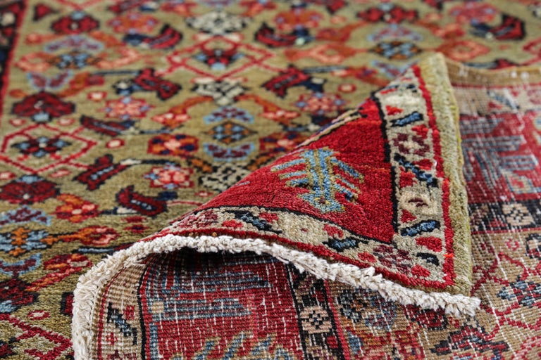 Wool Antique Persian Runner Rug Sultanabad Design For Sale
