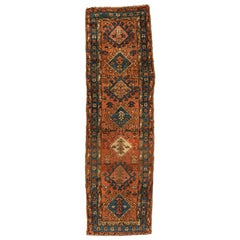 Antique Persian Rust and Blue Geometric Heriz Runner Rug, circa 1920-1930s