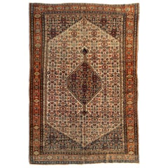 Antique Persian Rust Ivory Navy Blue Senneh Area Rug, circa 1900