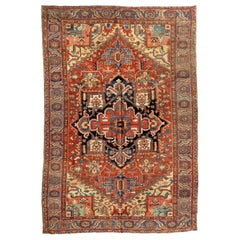 Antique Persian Rust Navy Blue Gold Tribal Geometric Heriz Area Rug 1910-1920s