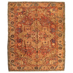 Antique Persian Rust Navy Blue Tribal Geometric Square Heriz Rug, circa 1900s