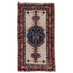 Antique Persian Sarab Area Rug, Blue Borders, circa 1934