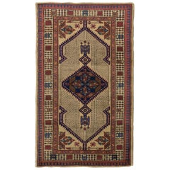 Antique Persian Sarab Rug with Brown and Navy Blue Geometric Patterns
