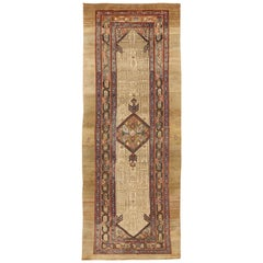 Antique Persian Sarab Runner Rug with Brown & Beige Geometric Details