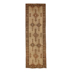 Antique Persian Sarab Runner Rug with Brown and Beige Geometric Patterns