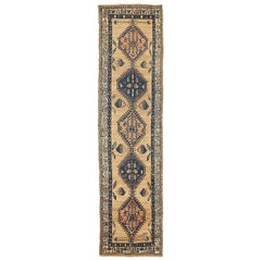 Antique Persian Sarab Runner Rug with Navy and Pink Medallions