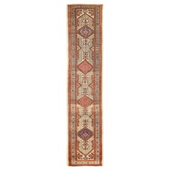 Antique Persian Sarab Runner Rug with Navy, Red and Black Tribal Details