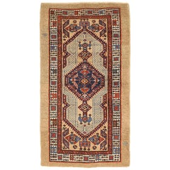 Antique Persian Sarab Runner Rug with Navy and Red Geometric Medallions