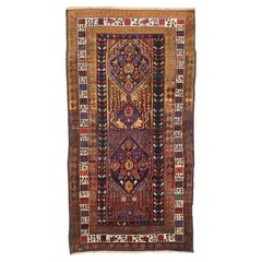 Antique Persian Sarab Runner Rug with Red and Blue Floral Medallions