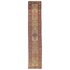 Antique Persian Sarab Runner Rug with Red and Blue Geometric Details