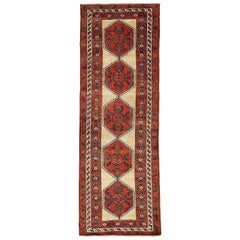Antique Persian Sarab Runner Rug with Red Medallions on Ivory Center Field