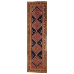 Antique Persian Sarab Runner Rug with Red & Navy Blue Geometric Patterns