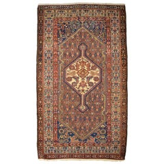 Antique Persian Saraband Carpet in Blue, Red, and Orange Wool