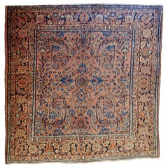 Antique Persian Sarouk, All-Over Design on Rust Field, Wool, 4ft square, 1915
