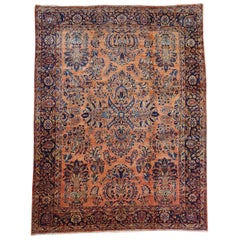 Antique Persian Sarouk, All-Over Design on Rust Field, Wool, Room Size, 1920