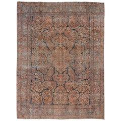 Antique Persian Sarouk Carpet, Allover Field, circa 1930s