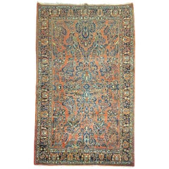 Antique Persian Sarouk Intermediate Size Rug