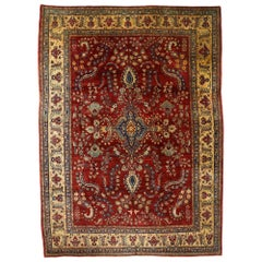 Antique Persian Sarouk Mohajeran Rug with Jacobean Style