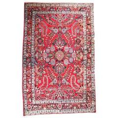 Antique Persian Sarouk Oriental Rug, circa 1930