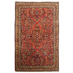 Antique Persian Sarouk Oriental Rug, in Small Size, with Jewel Tones, circa 1920