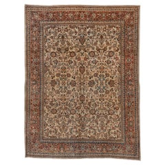 Antique Persian Sarouk Rug, Allover Field, Circa 1930s