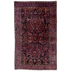 Antique Persian Sarouk Rug, American Style, Navy All-Over Field and Pink Accents